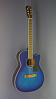 James Neligan Westerngitarre Mini-Jumbo-Form, Fichte, Mahagoni, blau lackiert, Pickup, Cutaway