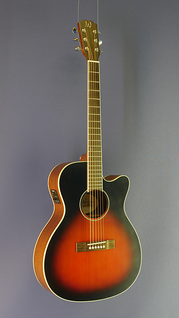James Neligan Westerngitarre OM-Form, Zeder, Mahagoni, Cutaway, sunburst, Pickup
