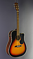 Kirkland Folkgitarre Dreadnought Form, Fichte, Mahagoni, sunburst Finish, mit Cutaway und Pickup