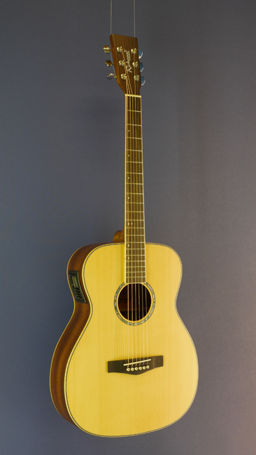 Richwood Westerngitarre OM-Form, Sitka-Fichte, Mahagoni, Pickup, satin finish